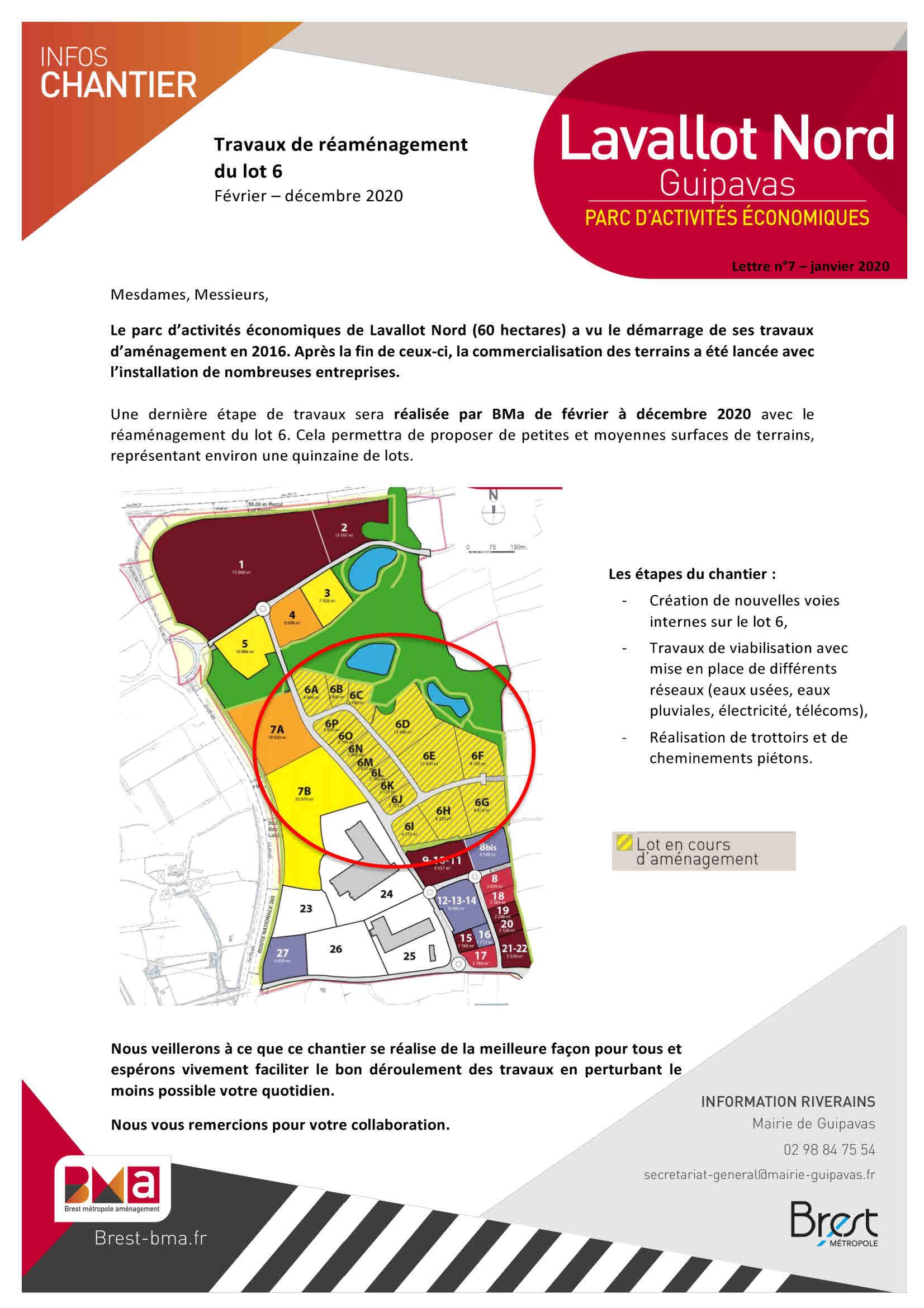 Lavallot : Travaux de réaménagement du lot 6 >> Février – décembre 2020