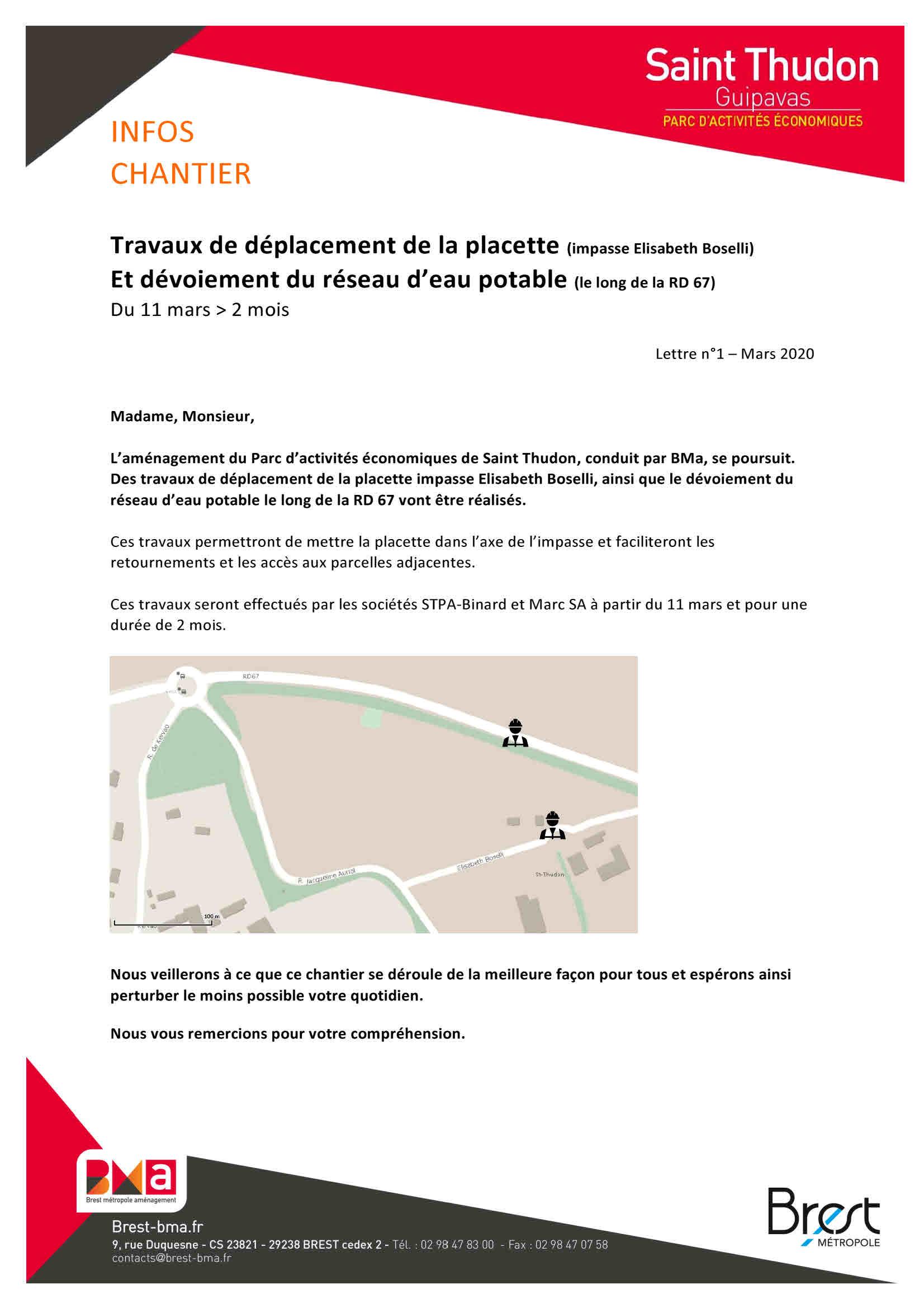 Saint Thudon : Travaux impasse Elisabeth Boselli -11 mars > 2 mois