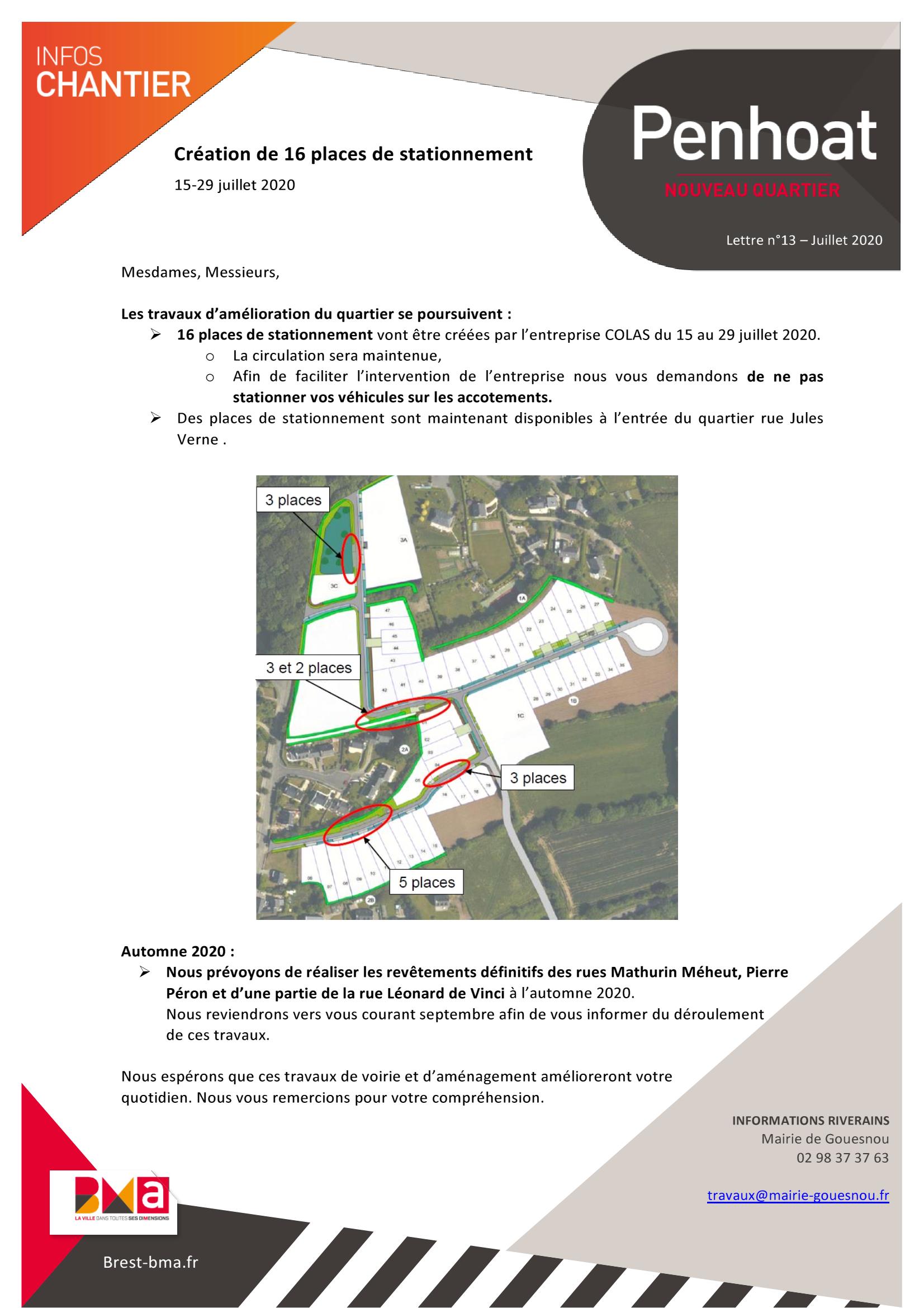 Penhoat – création de 16 places de stationnement du 15 au 29 juillet 2020