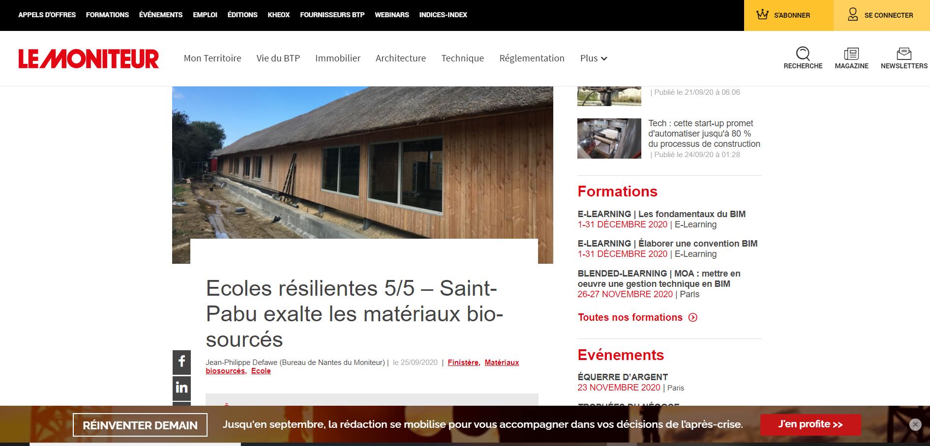 Le Moniteur : la nouvelle école de Saint Pabu à l'honneur