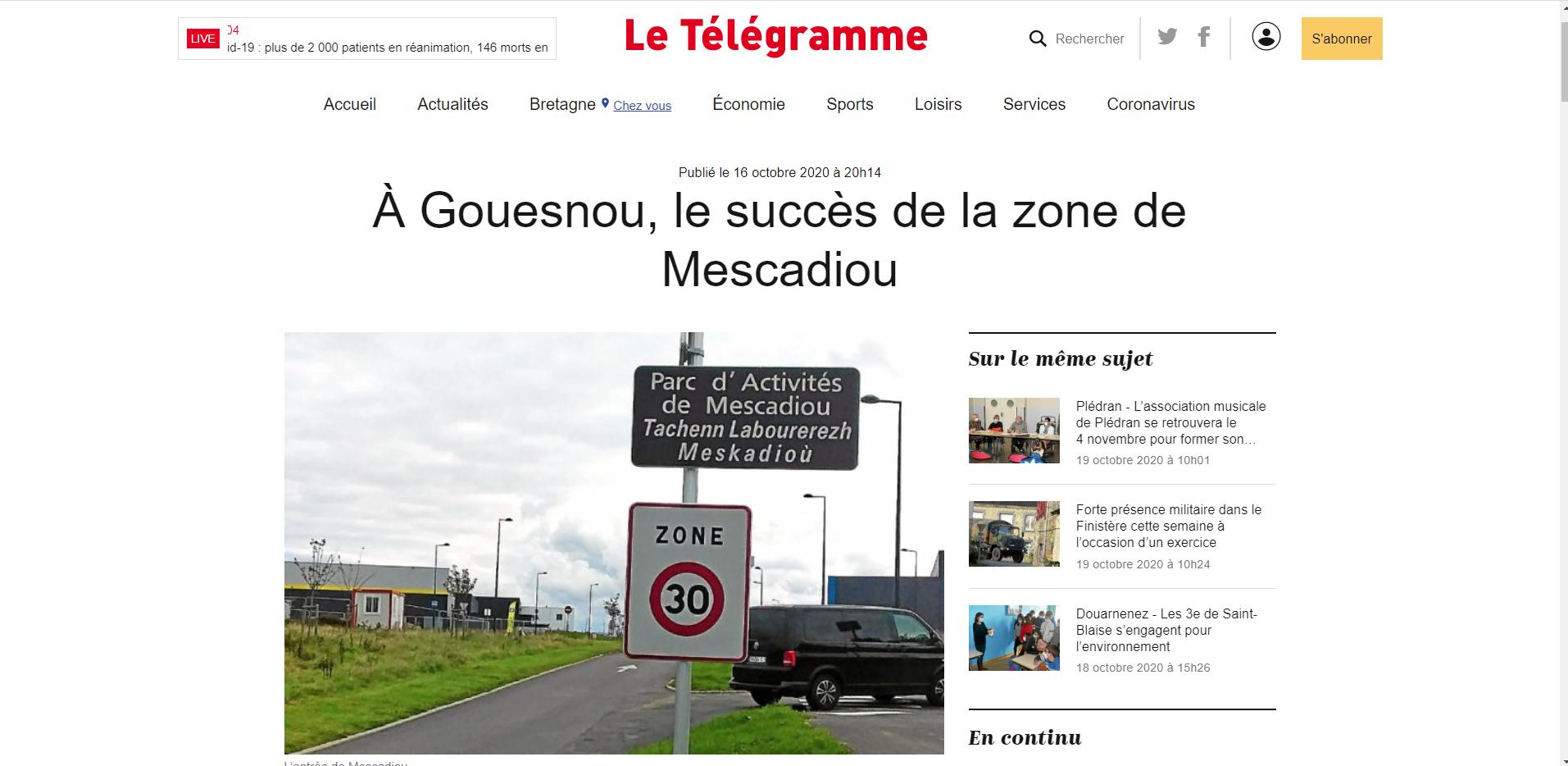 Le succès du Parc de Mescadiou – a lire dans Le Télégramme