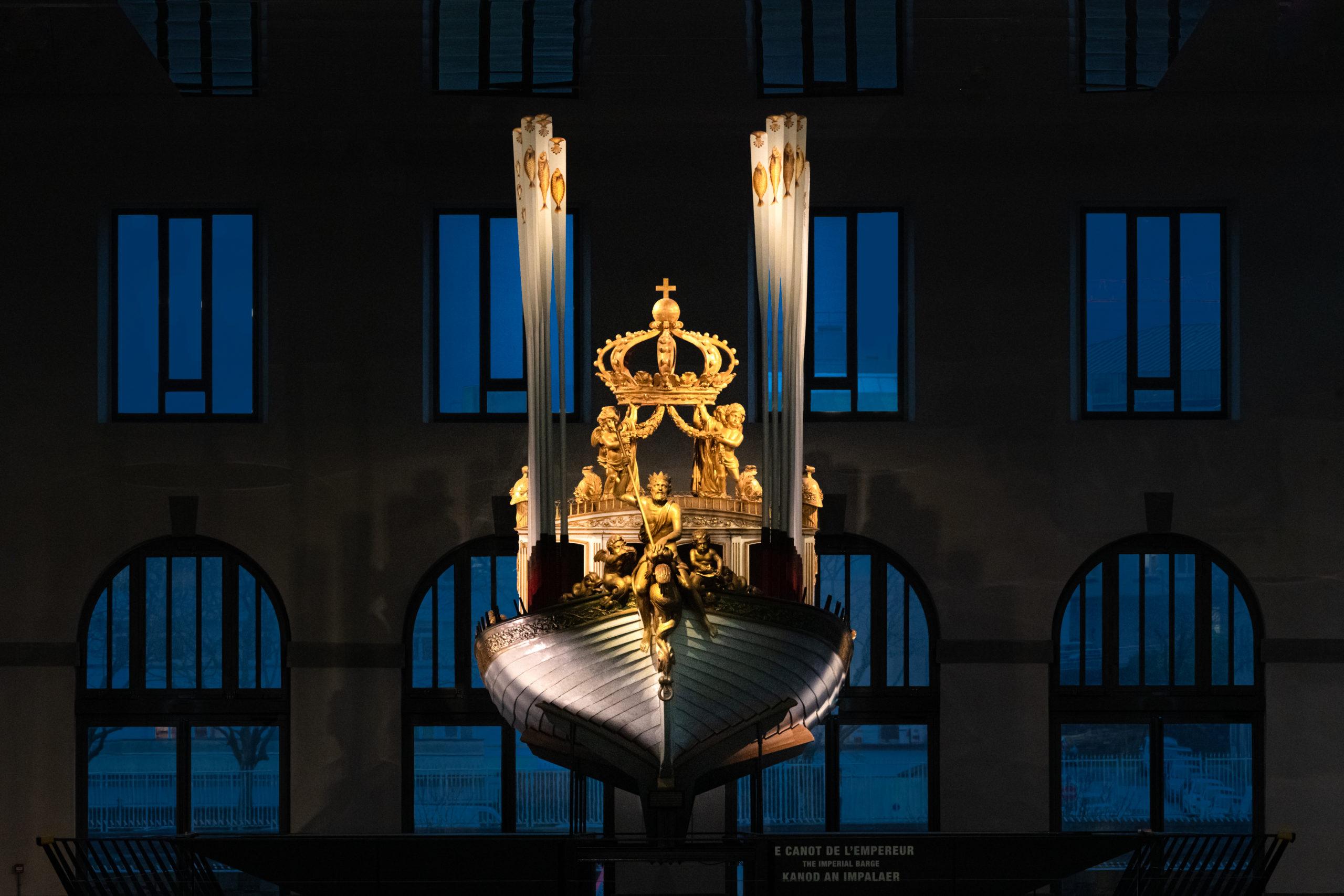 Le Canot de l'Empereur restauré est désormais visible de tous, aux Ateliers des Capucins